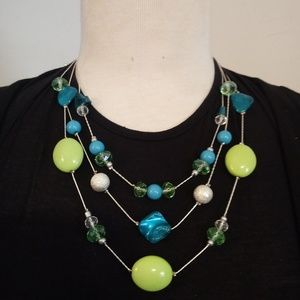 Jewelry - Lime Green and Blue Summertime Necklace